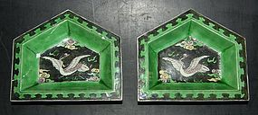 Famille noire biscuit dishes, Kangxi (1662-1722)